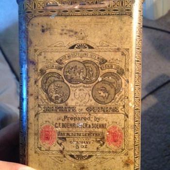 1873 C.F. Boehringer & Soehne Sulphate of Quinine Tin?? - Advertising