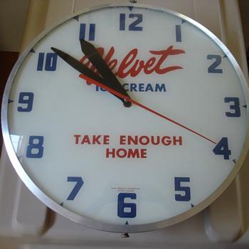Velvet Ice Cream Clock. Take Enough Home. - Clocks