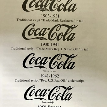 Coca Cola Script Trademark from 1903 on.  How to identify the different years.  - Coca-Cola