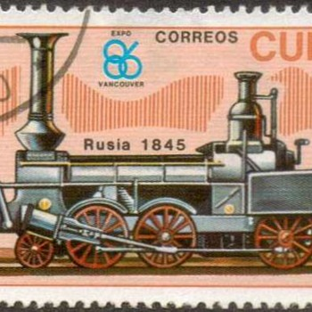 "1986 - Cuba ""Locomotive"" Postage Stamp - Stamps"