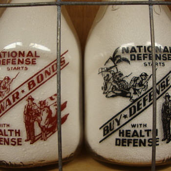 """Buy War Bonds"" & ""Buy Defense Bonds"" Milk Bottle Slogans...... - Bottles"