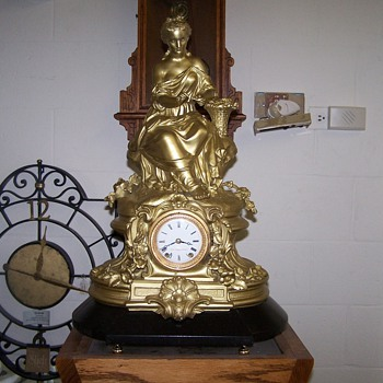 French Bronze Statue Clock