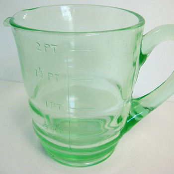 Help identify this large Vaseline Glass Measuring Pitcher - Glassware