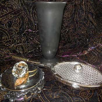 A Little Fun Flea Market Finds A Valenti Silver Made In Spain Lidded Tennis Racket Dresser Caddy And More! :^D  - Pottery