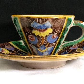 I.C.S. Industria Ceramica Salernitana tea cup and saucer 1930's w/Fish Mark  - China and Dinnerware