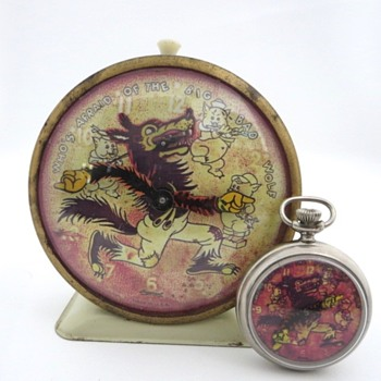 FAKE Ingersoll Who's Afraid Of The Big Bad Wolf Alarm & Pocket Watch - Clocks