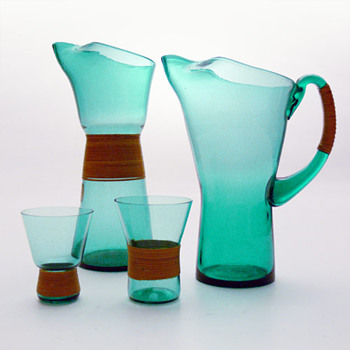 GRØN jugs and glasses, Jacob E. Bang (Kastrup, 1960) - Art Glass