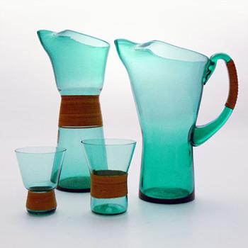 GRØN jugs and glasses, Jacob E. Bang (Kastrup, 1960) - Art Glass