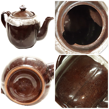 Guan Style Brown Glaze Teapot Pottery   - Asian