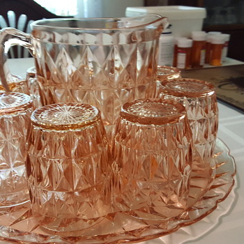 Antique cut or impression glass serving set with six glasses - Glassware