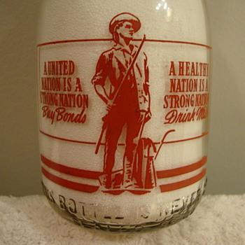 WALNUT GROVE DAIRY...ALTON ILLINOIS...CREAM TOP WAR SLOGAN MILK BOTTLE - Bottles