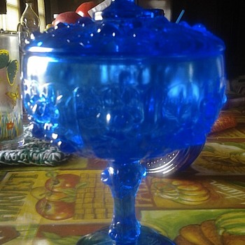 blue glass candy dish? - Glassware