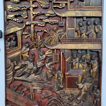 Largest Chinese Carved Wooden Panel of the lot - Asian