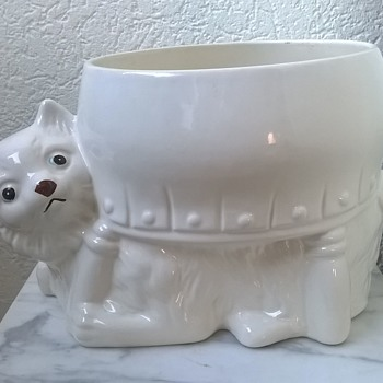 Cat-Under-A-Footstool Planter - Pottery