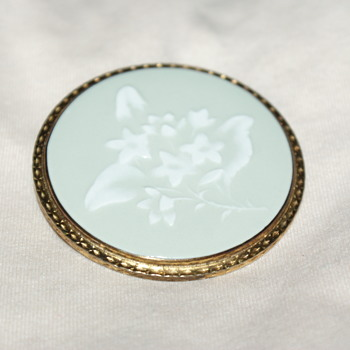 Royal Worcester, England, Trailing Arbutus Brooch/Pendant - Costume Jewelry