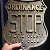 Early shield STOP sign - cast aluminum