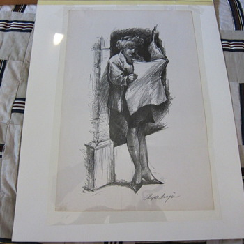 """Clyde Singer  (Signed)  -  """"THE DAILY NEWS""""  -  Lithograph"""