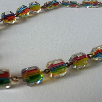 Art Deco rainbow cane glass necklace on gold tone (rolled gold?) links - Art Deco