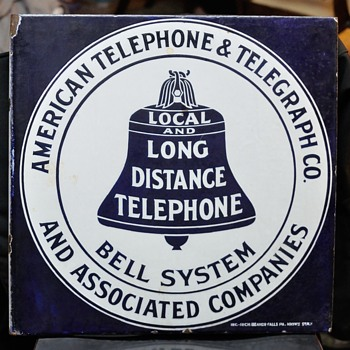 "1908 Pattern AT&T 18x18"" flange with ING-RICH logo - Telephones"