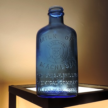 Phillips Milk of Magnesia Bottle Cobalt Blue Medicine Apothecary Vintage Hazel Atlas Glass 12 Ounces - Bottles