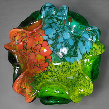 "Murano - Floriform Spatter Bowl - 6 1/2"" - Art Glass"