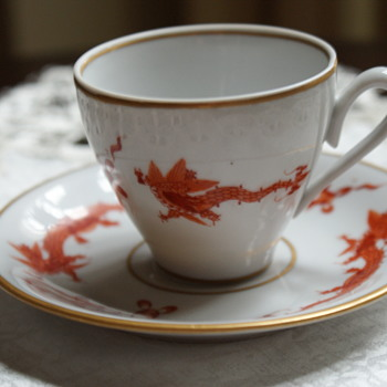 Vintage Hand-Painted Cup and Saucer - China and Dinnerware