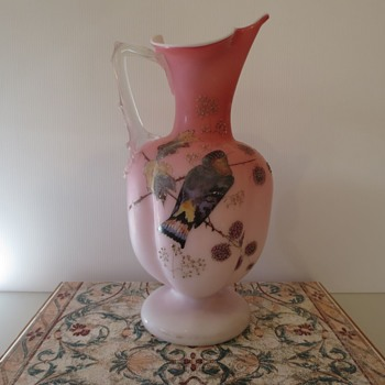 Victorian Painted Glass Jug - Glassware
