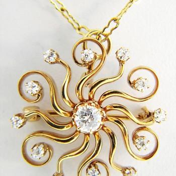 Victorian European Cut Diamond Starburst Pendant Brooch 14k - Fine Jewelry