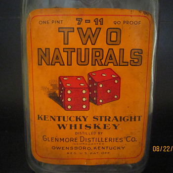 Early 1900's Two Naturals 7-11 Owensboro Kentucky Glenmore Distillieries Co. Whiskey Bottle w/Original Label - Bottles