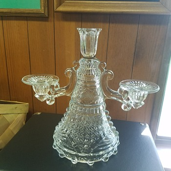 Vintage 3 tier crystal candle holder - Glassware