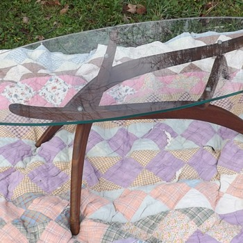 mid century coffee table with a Surfboard Glass Top and Teak bottom - Furniture