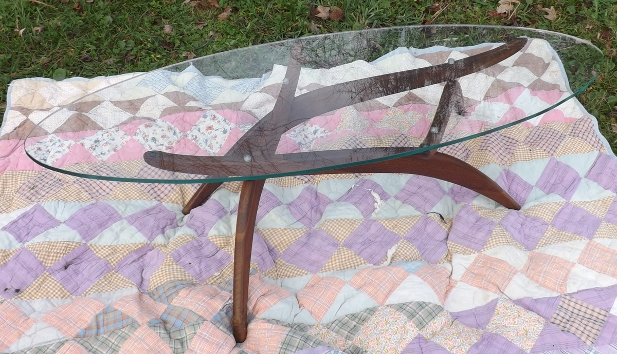 Mid Century Coffee Table With A Surfboard Glass Top And Teak Bottom |  Collectors Weekly
