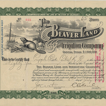 Beaver Land and Irrigation Company - One of my favorite vignettes! - US Paper Money