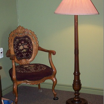 Black Walnut Floor Lamp c1911 with Canadian Belter type chair. c1865 - Furniture