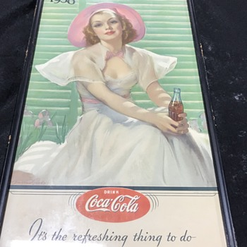 1938 Coca Cola framed paper advertising  - Coca-Cola