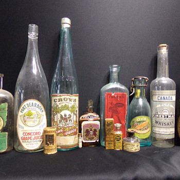 Labeled Antique Bottles, c. 1880s-1910s - Bottles