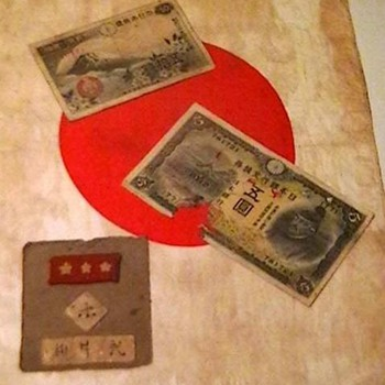 WW II Japanese Personal Flag, Money, and Uniform Patch  - Military and Wartime