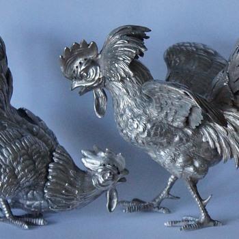 Silver Fighting Cockerels  - Silver