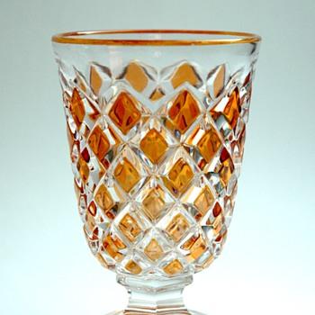 antique french victorian baccarat cut overlay cristal glass mug - Art Glass