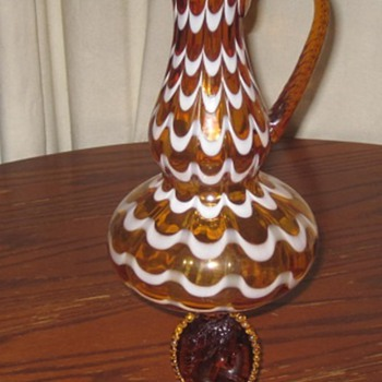 AMBER BLOWN GLASS PITCHER W/CAMEO BASE - Glassware