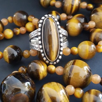 Tiger Eye Necklace & Ring - Fine Jewelry