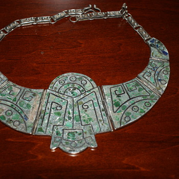 Massive Mexican Sterling and Inlay Necklace - Fine Jewelry