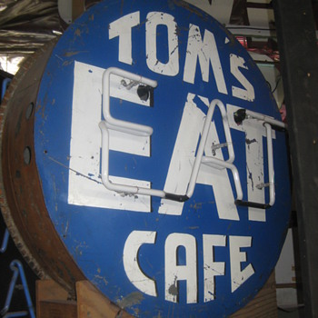 "Vintage 1950's TOMS ""EAT"" CAFE Antique Neon Sign Two Sided - Signs"