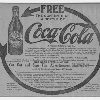1912 Coca-Cola Newspaper Ads for Free Coca-Cola - Coca-Cola