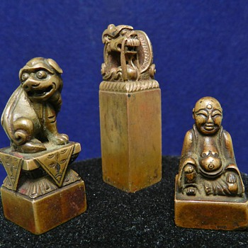 Set of 3 Qing Dynasty Chinese Bronze Shoushan - Asian