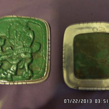 jade & sterling silver mayan necklass