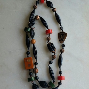 New from old: bakelite, lucite, copper necklace - Costume Jewelry
