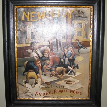 Newsboy Tobacco advertising painting oil on canvas! - Tobacciana