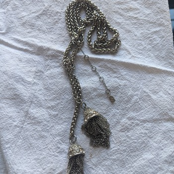 Beautiful Costume Necklace by unknown maker Rhinestone Chain Tassel marked JJO with heart clasp - Costume Jewelry
