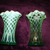 Early Fenton Green Opalescent Swung Vases?